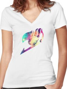 Galaxy Fairy Tail Logo Women's Fitted V-Neck T-Shirt