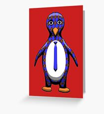 Argyle Penguin Greeting Card