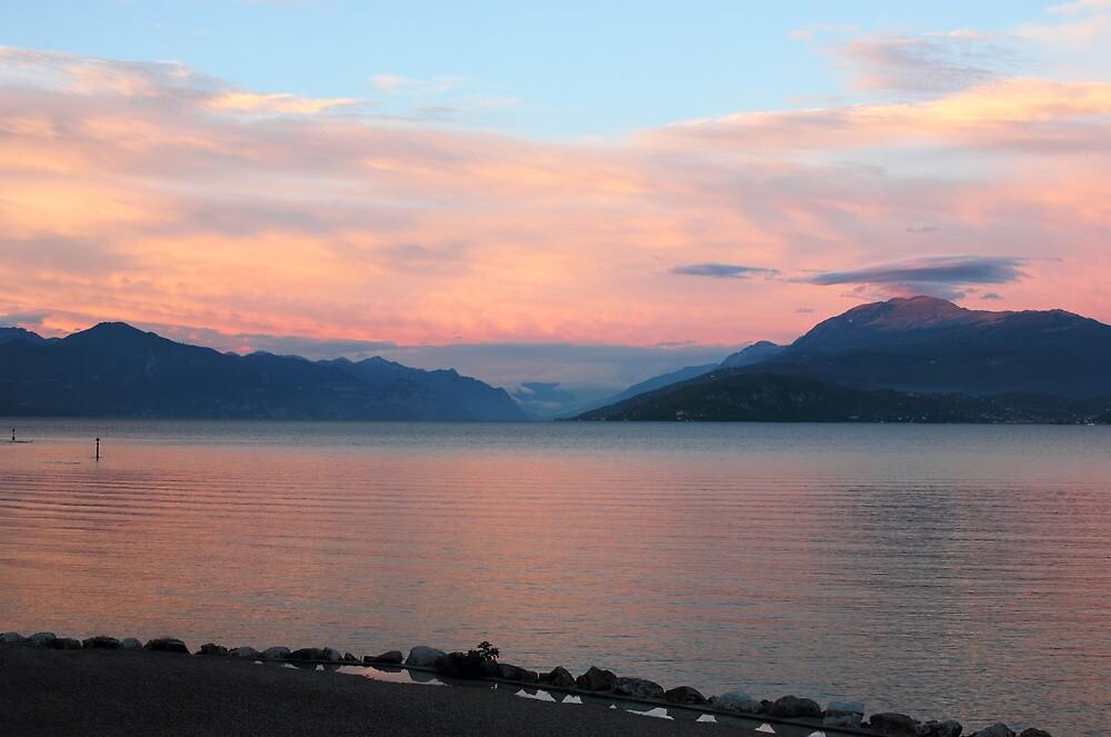 Lake Garda Panoramic Sunset View by kirilart
