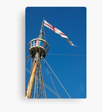 St George's flag pennant flying on the Matthew ship, a replica of a Caravel, Brest 2008 Maritime Festival, France Canvas Print