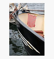 Red and white striped top drying onboard ship, Brest Maritime Festival 2008, France Photographic Print