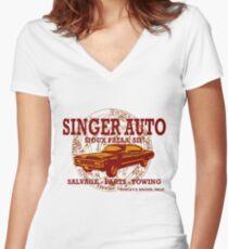 SINGER AUTO Women's Fitted V-Neck T-Shirt