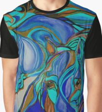 Wild  Horses In Brown and Teal Graphic T-Shirt