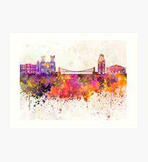 Bristol skyline in watercolor background Art Print