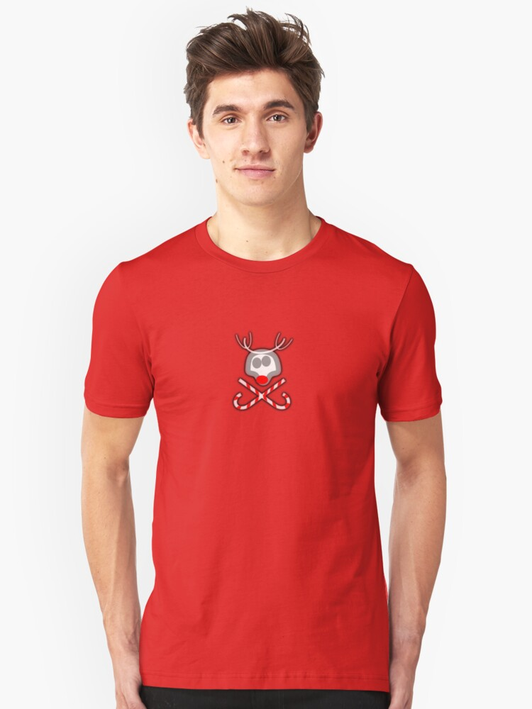 Rudolph Jolly Roger with Candy Canes Unisex T-Shirt Front