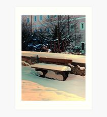 Snow covered bench Art Print