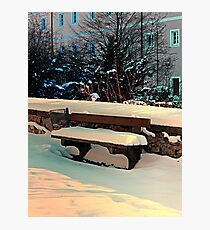 Snow covered bench Photographic Print