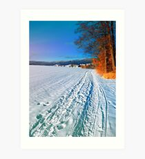 Hiking through a sunny winter scenery Art Print