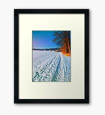 Hiking through a sunny winter scenery Framed Print
