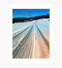 Winter road into the mountains Art Print