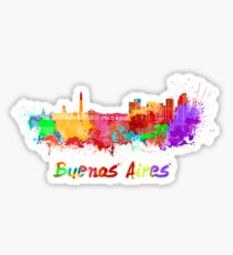 Buenos Aires skyline in watercolor Sticker