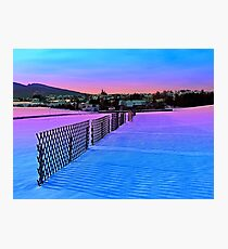Fences on a winter sundown Photographic Print