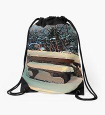 Snow covered bench Drawstring Bag