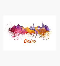 Cairo skyline in watercolor Photographic Print