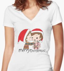 Merry Christmas Larry Stylinson Women's Fitted V-Neck T-Shirt