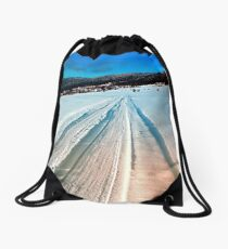 Winter road into the mountains Drawstring Bag