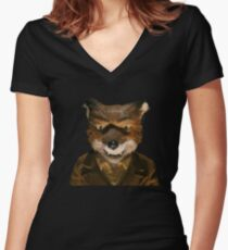 Angry Mr. Fox Women's Fitted V-Neck T-Shirt