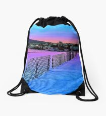 Fences on a winter sundown Drawstring Bag