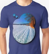Hiking through a sunny winter scenery Unisex T-Shirt