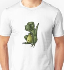 Very grumpy green dinosaur in a mood Unisex T-Shirt