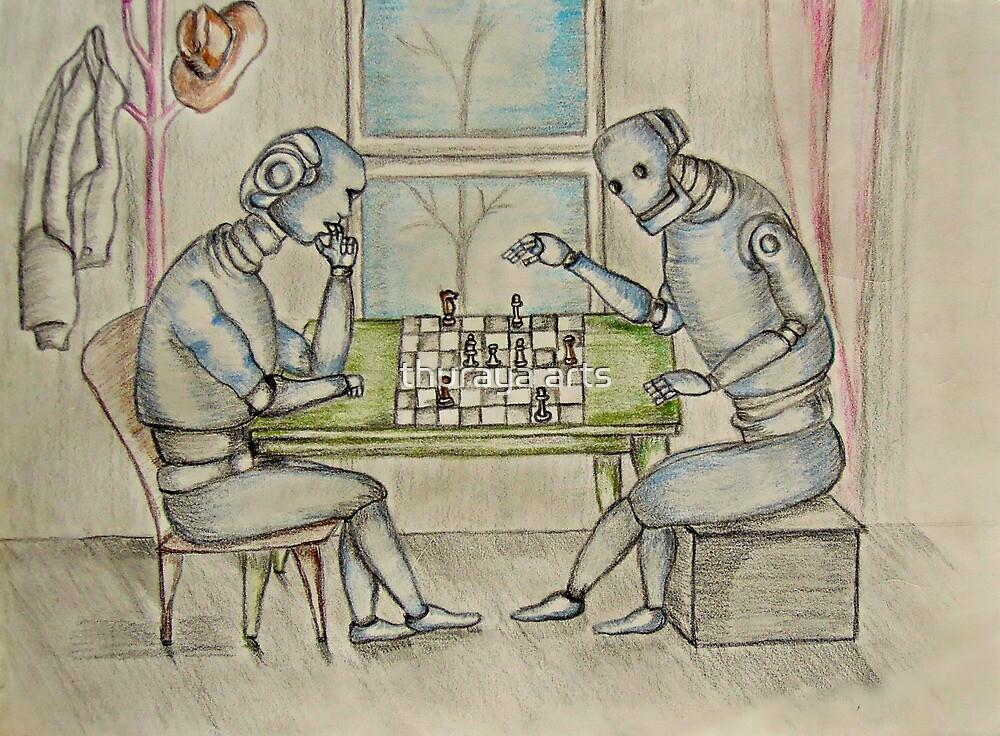 robots  enjoy playing chess  by thuraya arts