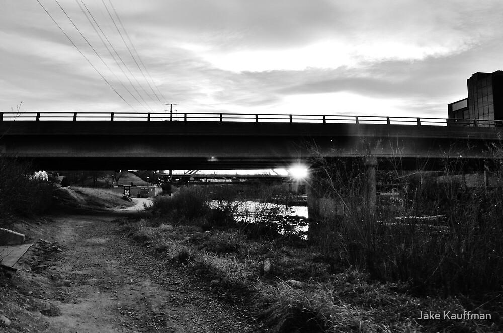 B&W Sunset Under a Bridge by Jake Kauffman