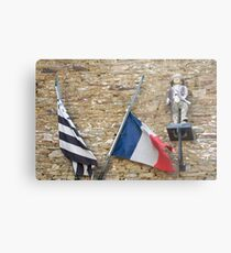 Seafaring figure with Breton and French flags, Brittany, France Metal Print