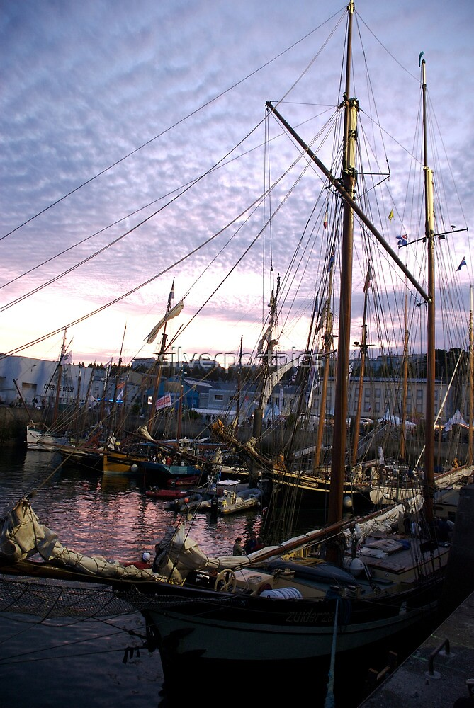 Tall ships in dock at sunset, Brest Maritime festival, France by silverportpics