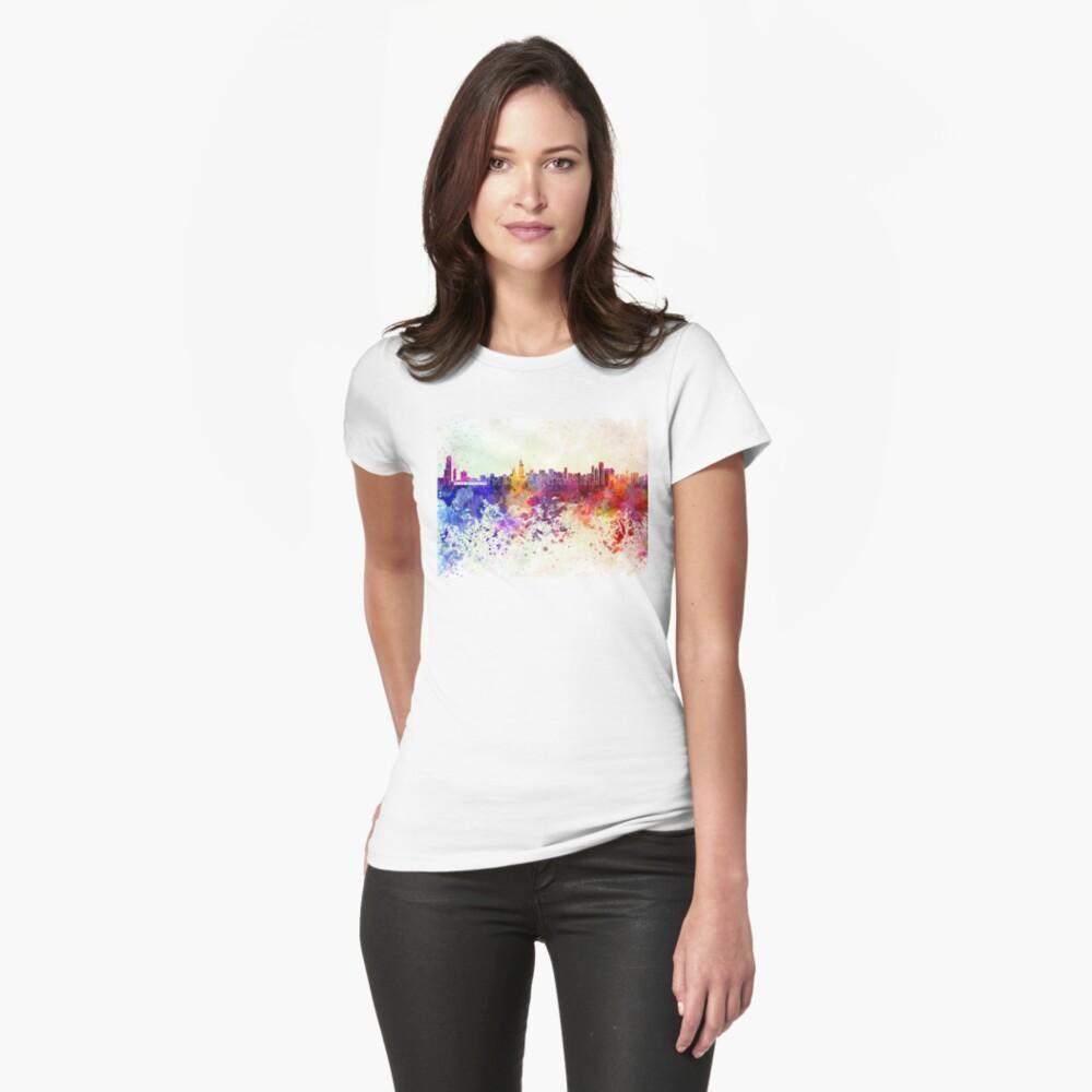 Chicago-Skyline im Aquarellhintergrund Tailliertes T-Shirt