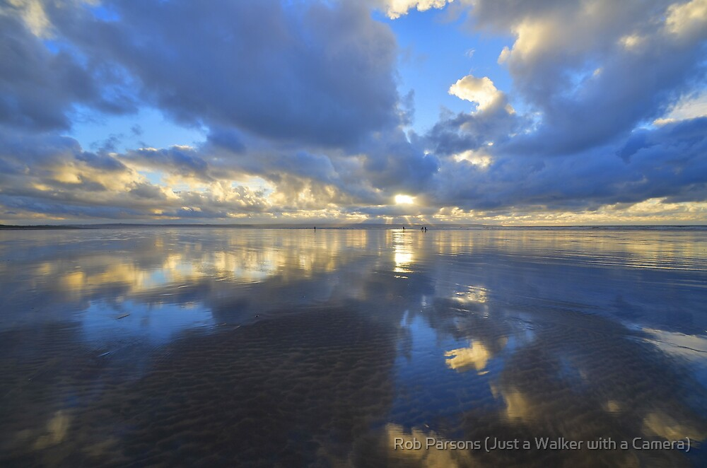 Devon: Evening Reflections at Saunton Sands by Robert parsons