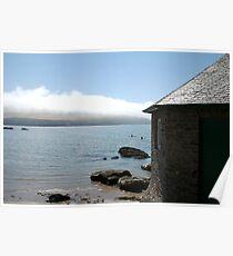 Cottage and sea fog, Mothecombe, South Hams, Devon, England, UK Poster