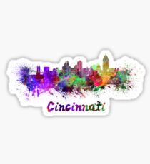 Cincinnati skyline in watercolor Sticker