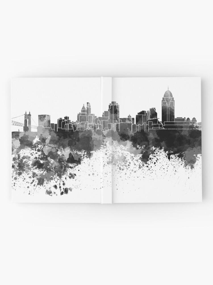 Alternative Ansicht von Cincinnati-Skyline im schwarzen Aquarell Notizbuch