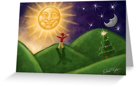 Greeting The Solstice Sun, Christmas Card for Pagans by davidkyte