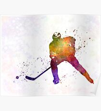 Hockey skater in watercolor Poster