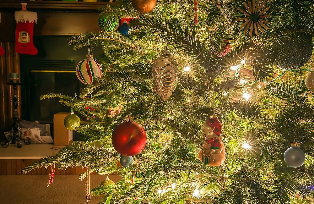Still life photo of christmas presents and christmas tree in the living room. by ALEX GRICHENKO