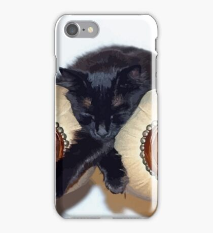 Relaxed Black Cat Sleeping Between Two Chairs iPhone Case/Skin