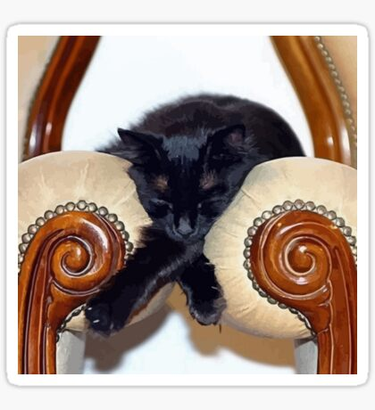 Relaxed Black Cat Sleeping Between Two Chairs Sticker
