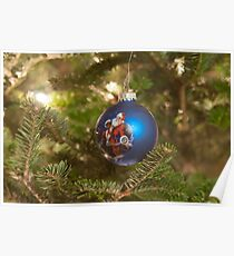 santa clause christmas tree ornament Poster
