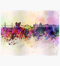 Copenhagen skyline in watercolor background Poster