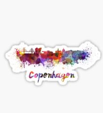 Copenhagen skyline in watercolor Sticker
