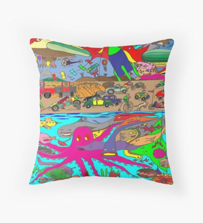 Air, Land and Sea Throw Pillow