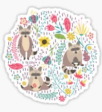 Raccoons bright pattern Sticker