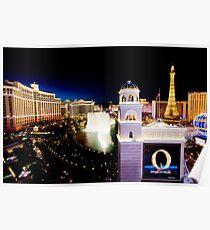 The Strip, Bellagio at night Las Vegas, Nevada, USA Poster