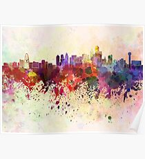 Dallas skyline in watercolor background Poster
