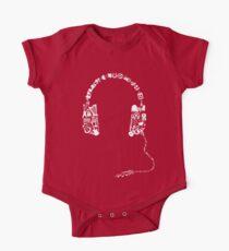 Headphones Collage Short Sleeve Baby One-Piece