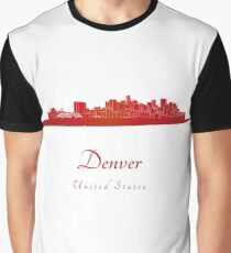Denver skyline in red Graphic T-Shirt