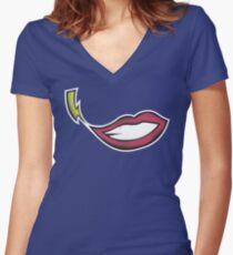 Lightning Smile Women's Fitted V-Neck T-Shirt