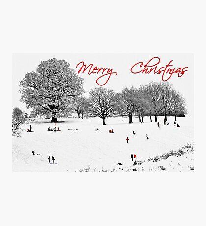 Christmas Sledging Photographic Print
