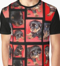 Cute Rottweiler Puppy Collage Graphic T-Shirt